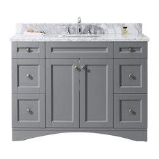 Virtu Elise 48-inch Single Bathroom Vanity Gray With Marble Top And Round Sink