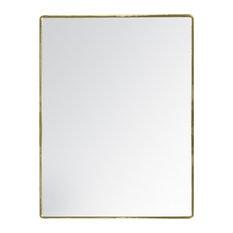 "Salvo Rectangle Metal Frame Mirror, 18""x24"", Gold"