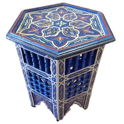 Cute Mediterranean Side Tables And End Tables Moroccan Moucharabieh Table Blue