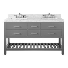 Elizabeth Vanity Set, Sapphire Gray With Carrara Marble Top, 72""