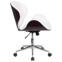 Flash Furniture Mahogany Wood & White Leather