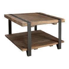Alaterre Furniture Modesto 27 Reclaimed Wood Square Coffee Table Rustic Natural Coffee