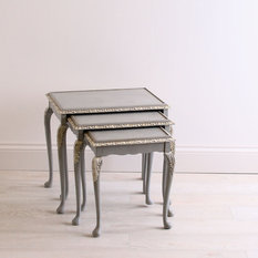 darcy nest of tables hand painted in blue and white