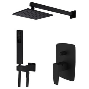 Corvus Square Black Brass Wall Shower Head With Mixer Tap and Hand Shower