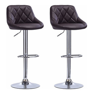 2 Bar Stools Set, Faux Leather With Backrest, Adjustable Swivel Gas Lift, Black