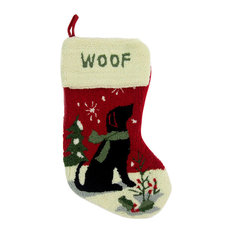 glitzhome hooked christmas stocking with dog christmas stockings and holders - Rustic Christmas Stocking