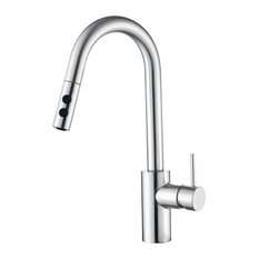 """Luxier KTS21-T 16"""" Pull Down Spray Kitchen Sink Faucet, Brushed Nickel"""