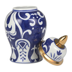 Sagebrook Home White/Blue Temple Jar, Bold