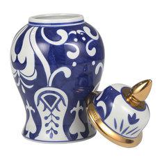 Sagebrook Home White/Blue Temple Jar, Bold
