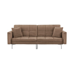 Modern Tufted Velvet Fabric Splitback Sleeper Sofa, Brown