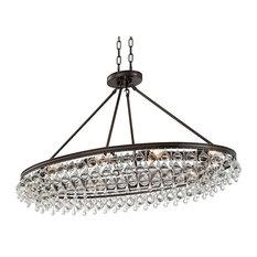 Crystorama Calypso 8-Light Crystal Teardrop Vibrant Bronze Oval Chandelier