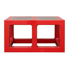 Red Lacquer Stone Top Contemporary Coffee Table  Low Table S049