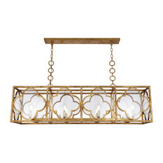 Trinity 8-Light Chandelier, Glass: Clear, Golden Iron