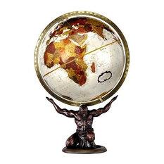 Atlas 12 Inch Desktop Globe in Metallic Bronze w Statue Base