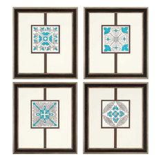 Paragon Geometrics Traditional Sassy Emeralds Pack of 4 Wall Art