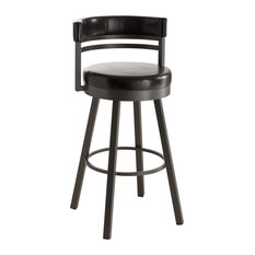 Amisco Ronny Upholstered Back Swivel Stool 41442 34-inch Spectator Height