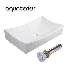 "Aquaterior 26x15x5"" Large Rectangle Ceramic Bathroom Vessel Sink with Drain"