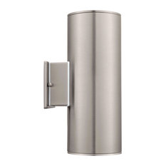 2x75W Outdoor Wall Light w/ Stainless Steel Finish & Clear Glass