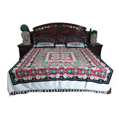 Mogulinterior - 3pc Boho Indian Bedding Tapestry Cotton Bedspreads Pillows - Blankets