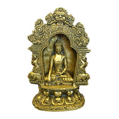 Mogul Interior - Buddha Brass Statue with Beautiful Arch Buddhist Yoga Decor Sculpture Idol - Decorative Objects And Figurines