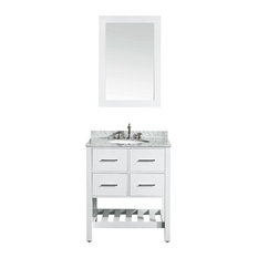 Bosconi - 30'' Bosconi SB-250-1WH Single Vanity, White With White Carrara Marble Top - Bathroom Vanities and Sink Consoles