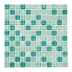 """12""""x12"""" Tropical Reflections Hand-Painted Glass Mosaic, Single Sheet"""