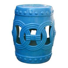 International Caravan Infinity Ceramic Garden Stool, Aqua Blue