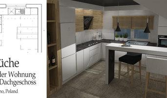 Küche in Wohnung im Dachgeschoss