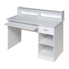 OneSpace - Essential Computer Desk, Hutch, Pull-out Keyboard, White - Desks and Hutches