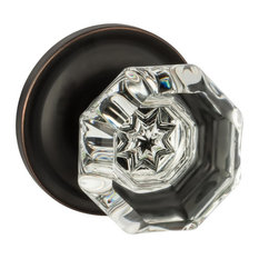 Classic Rosette, Crystal Style Door Knob, Passage Function, Oil Rubbed Bronze