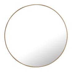 """32"""" Round Metal Frame Mirror, Brass"""