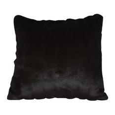 Mongolian Faux Fur Black Mink Throw Pillow, 22x22