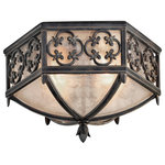 Fine Art Lamps - Fine Art Lamps Costa del Sol Collection Outdoor Flush Mount - Flush mount in stylized quatrefoil design features Marbella wrought iron finish and subtle iridescent textured glass.