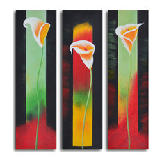Upstaged Lilies Hand Painted 3 Piece Canvas Set