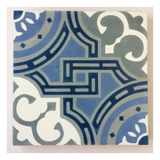 "7.9""x7.9"" Michael Glacier, Handcrafted Cement Tiles, Set of 12"