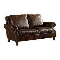 Leather English Rolled Arm Love Seat, Dark Brown