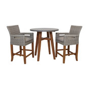 3-Piece Counter Height Composite With Light Gray Wicker Chairs Set