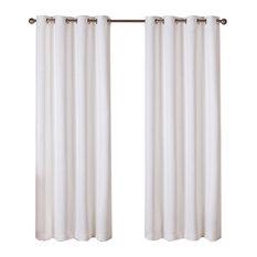 "Twill Weave  Grommet Top Curtains, Vanilla, 52""x96"""