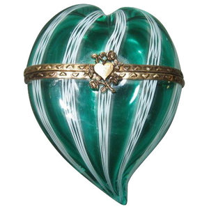 Murano Hearts Green Heart With Gold Clasp