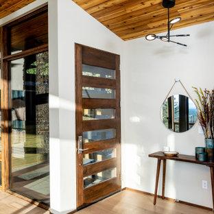 Foto de distribuidor abovedado, vintage, pequeño, con paredes blancas, suelo de madera clara y puerta simple