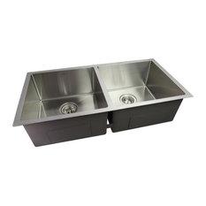 """CNOX CHEFF Satin Handcrafted Stainless Steel Kitchen Sink, 33""""x20""""x9"""""""