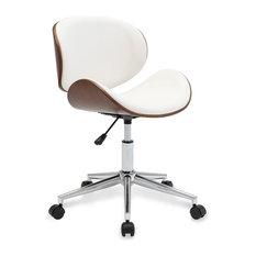 Belleze   Modern Adjustable Swivel Desk Chair, White   Office Chairs