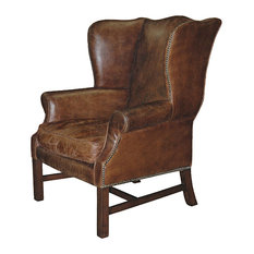 - Gaston Rustic Lodge Aged Leather Wingback Library Arm Chair - Armchairs and Accent Chairs