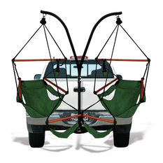 Residence - Trailer Hitch Stand With Dual Chairs, Hunter Green, Wood, Hammock Chairs - Awnings