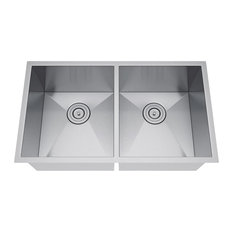 "31""x18"" Double Bowl 50/50 Undermount Stainless Steel Kitchen Sink, With Strainer"