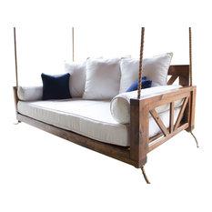 Avery Wood Porch Swing Bed, Harvest Wheat Finish, Twin Mattress Size