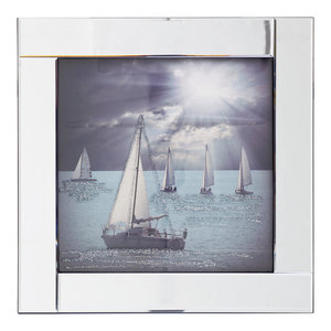 Square Mirror Picture Frame With Glittered Sailing Boats Illustration