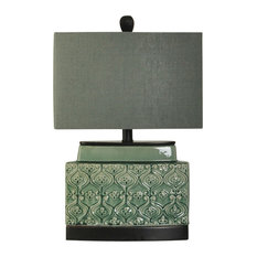 StyleCraft Home Collection - Springfield Accent Ceramic Table Lamp, Green Glass Finish, Grey Fabric Shade - Table Lamps