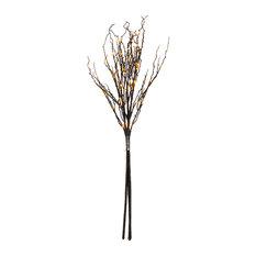 3' Black Twig Light With 60 Orange LEDs