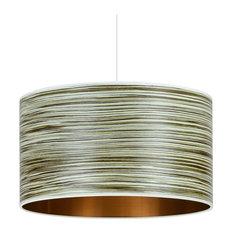 Green Stripe Wood Veneer Drum Lampshade, 35 cm